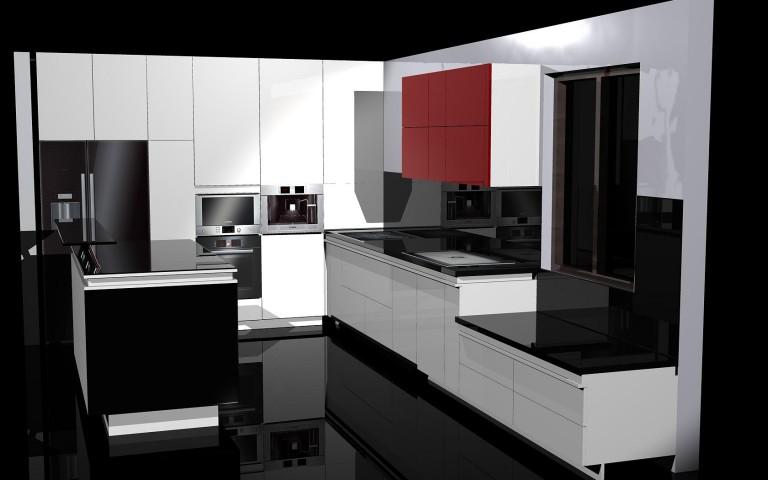 Ador Mobila Brasov - Mobilier la comanda bucatarie moderna cu placare sticla vopsita proiectare 3d unicat