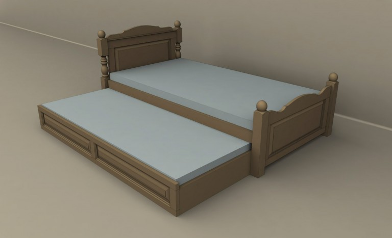 Ador Mobila Brasov - mobilier lemn brad stil rustic pictat pat