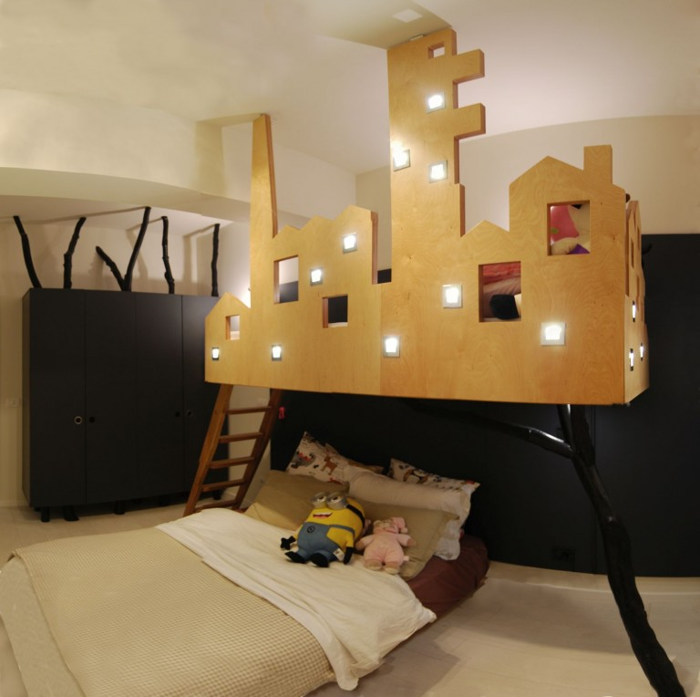 pat suspendat copii la comanda brasov lemn